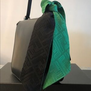 Fendi FF Logo Print Wrappy silk skinny scarf green